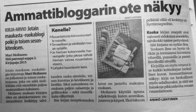 Soppa-arvostelu Vantaan Sanomissa.