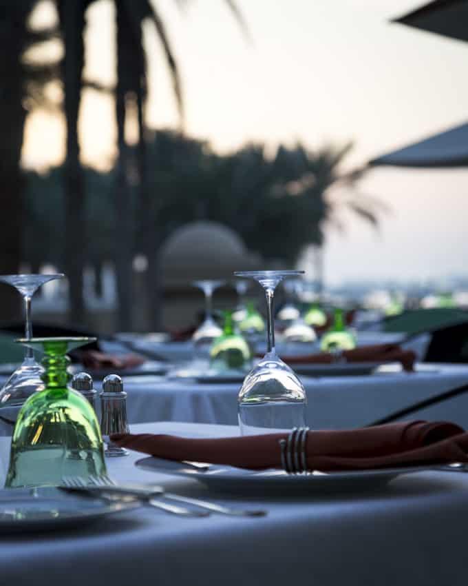 Illallisaika Onr & Only hotel Palacessa.