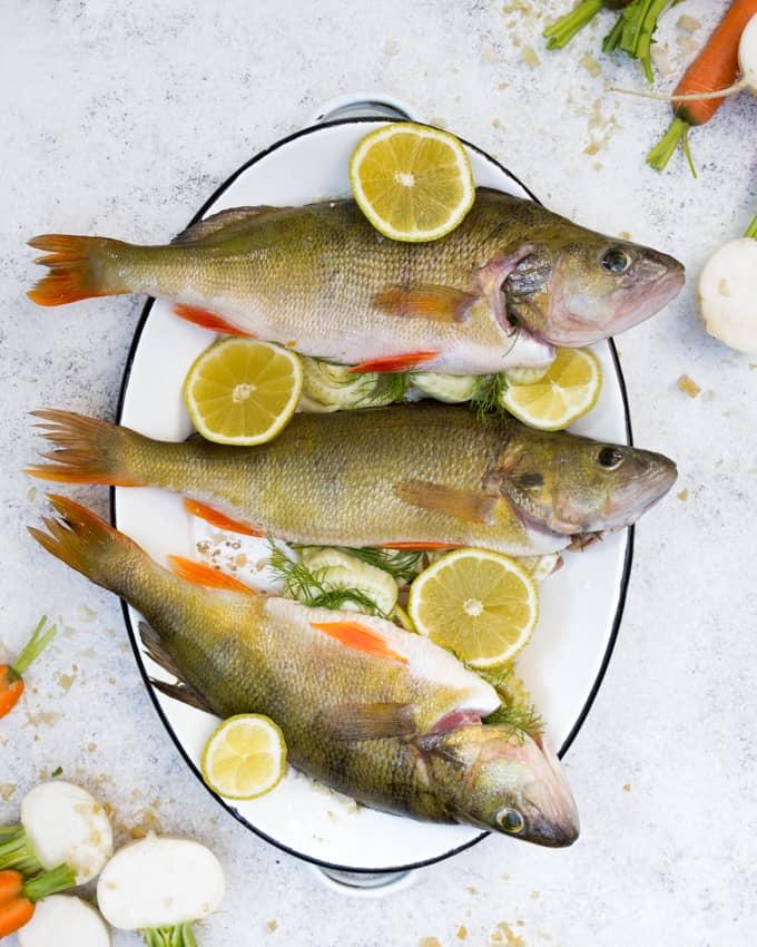 juhannusruokia, grillattu ahven, grillatut nauriit ja porkkanat, kastike grillatulle kalalle, kalaneuvos, kaupallinen yhteistyö