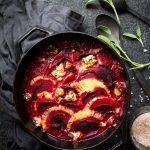 punajuuri-ananas-sinihomejuustovuoka, punajuurivuoka, punajuurireseptejä, kasvisruoka uunissa