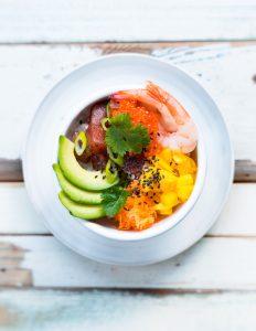 sushi bowl, tommikala sushi bowl, sushi bowl vinkkejä, äyriäis sushi bowl