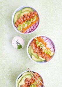 sushi bowl, lohi sushi bowl, lohikulho, kulhoruoka