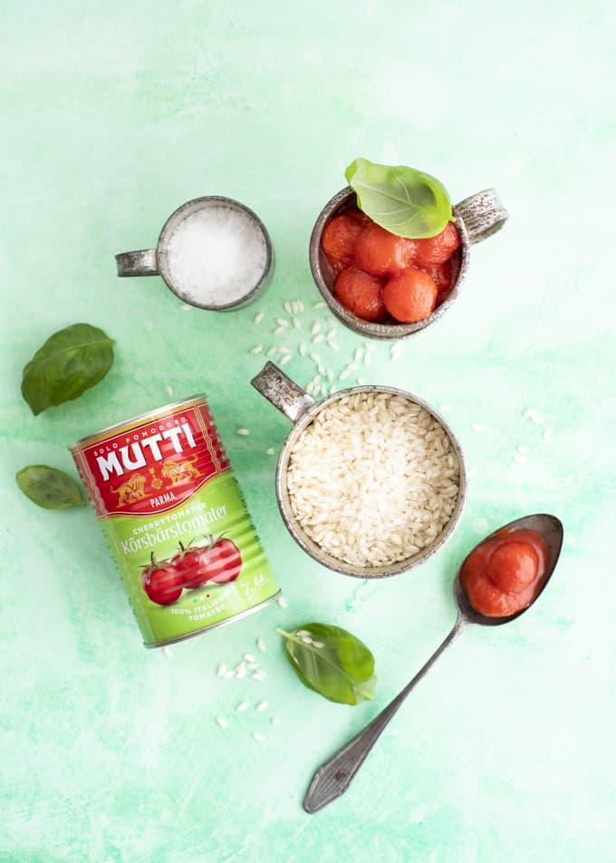 kirsikkatomaattirisotto, tomaattirisotto, mutti