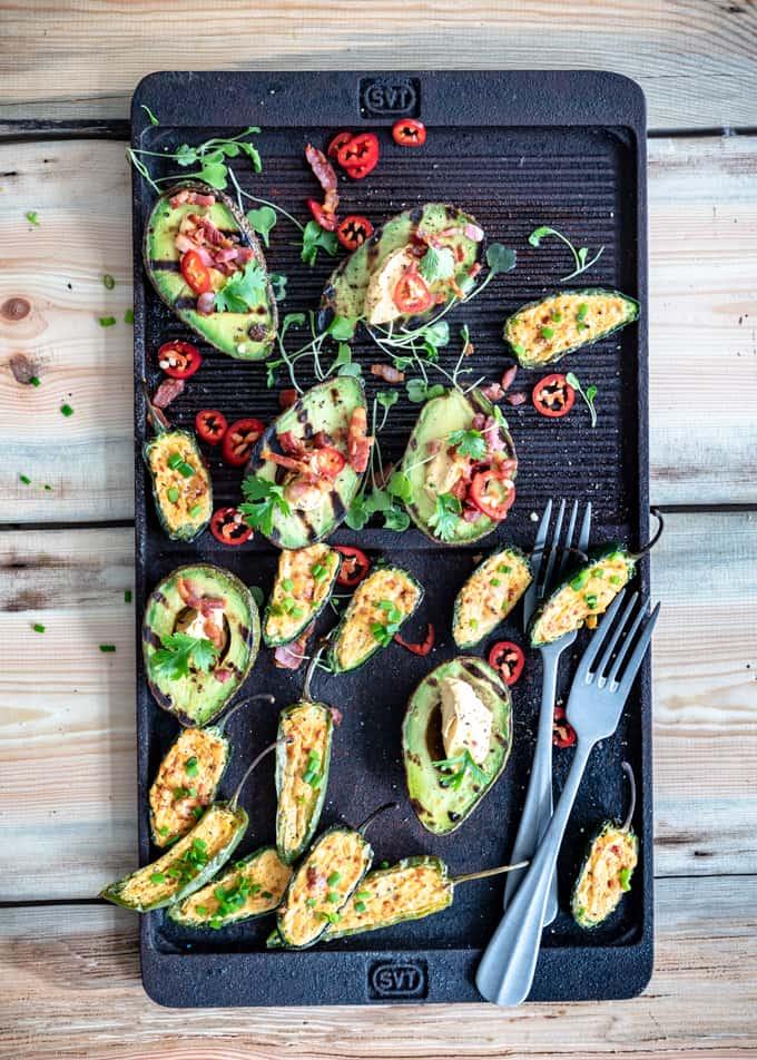 grillatut avokadot, grillatut jalapenot, grillivinkkejä, mitä grillattaisiin, grillatut kasvikset, bbq-tuorejuusto