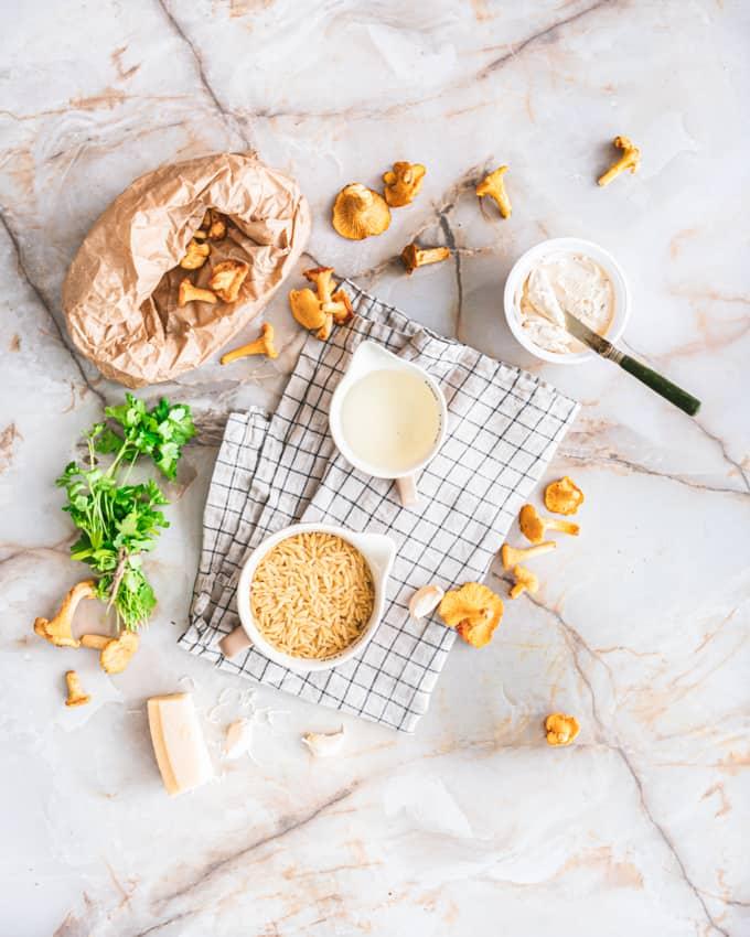 kantarelli-tuorejuustopasta, kantarelliorzotto, kantarelli-orzopasta, tuorejuuston käyttäminen pastassa